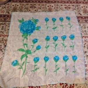 Vintage rayon scarf with blue roses